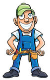 Cartoon handyman with tools. Royalty Free Stock Image