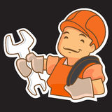 Cartoon Handyman with Tools Stock Image