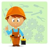 Cartoon handyman with tools on industry background Royalty Free Stock Photo