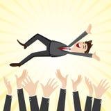 Cartoon happiness businessman throw up teammate hand. Illustration of cartoon happiness businessman throw up teammate hand in success concept Royalty Free Stock Image