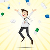 Cartoon happiness doctor jumping with medicine pills Royalty Free Stock Photos