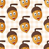 Cartoon Happy Acorn Seamless Pattern. A seamless pattern with a cartoon brown and yellow acorn character smiling, on a checkered picnic tablecloth background Royalty Free Stock Images
