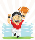 Cartoon of Happy American Football Player Stock Photo