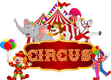 Cartoon happy animal circus with clown on the carnival background. Illustration of Cartoon happy animal circus with clown on the carnival background stock illustration