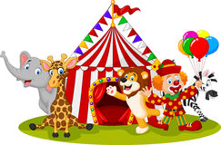 Cartoon happy animal circus and clown Stock Photos