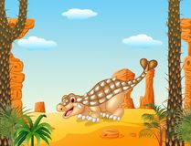 Cartoon happy ankylosaurus with prehistoric background Stock Images