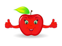 Cartoon happy apple Stock Photo