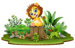 Free Cartoon Happy Baby Lion Sitting On Tree Stump With Green Plants Royalty Free Stock Photography - 131473747