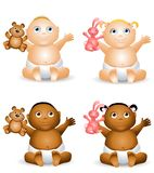 Cartoon Happy Baby Toys. An illustration featuring your choice of happy smiling baby - african american and caucasian - boys and girls holding teddy bears and Stock Images