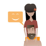 Cartoon happy beard man and beautiful young woman Royalty Free Stock Photo
