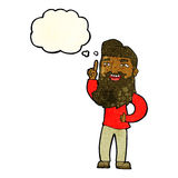 Cartoon happy bearded man with idea with thought bubble Stock Photo