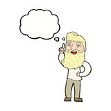Cartoon happy bearded man with idea with thought bubble Royalty Free Stock Photos
