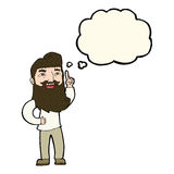 Cartoon happy bearded man with idea with thought bubble Royalty Free Stock Photography