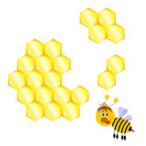 Cartoon happy bee with honeycomb Royalty Free Stock Photos