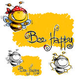 Cartoon Happy Bee with Spotted Bandana. Just a roughed designed Happy Bee Stock Photos