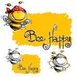 Cartoon Happy Bee with Spotted Bandana Stock Photos