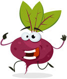 Cartoon Happy Beet Character. Illustration of a funny happy cartoon red beet vegetable character running Royalty Free Stock Photos