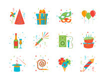 Cartoon Happy Birthday Party Color Icons Set. Vector Royalty Free Stock Image