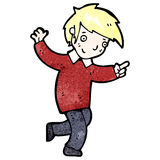 Cartoon happy blond boy pointing the way Stock Photography