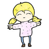 Cartoon happy blond girl Royalty Free Stock Photos