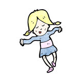 Cartoon happy blond girl Stock Images