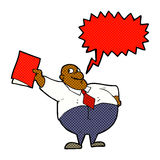 Cartoon happy boss with file with speech bubble Royalty Free Stock Photo