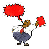 Cartoon happy boss with file with speech bubble Royalty Free Stock Photos