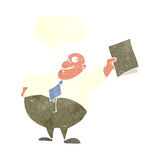 Cartoon happy boss with file with speech bubble Royalty Free Stock Images
