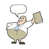 Cartoon happy boss with file with speech bubble Stock Photography