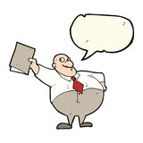 Cartoon happy boss with file with speech bubble Royalty Free Stock Image