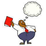 Cartoon happy boss with file with thought bubble Stock Images