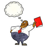 Cartoon happy boss with file with thought bubble Royalty Free Stock Photo