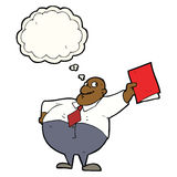 Cartoon happy boss with file with thought bubble Royalty Free Stock Image