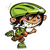 Cartoon happy boy crazy braces smiling skating with roller blade. Cartoon excited boy with dental braces and big smile in sports skating with roller blades and Royalty Free Stock Images