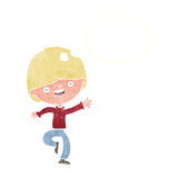 cartoon happy boy dancing with thought bubble Royalty Free Stock Images