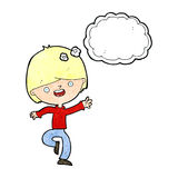 cartoon happy boy dancing with thought bubble royalty free illustration