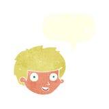 Cartoon happy boy's face with speech bubble vector illustration