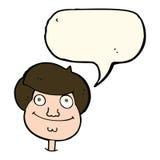 Cartoon happy boy's face with speech bubble stock illustration