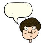 Cartoon happy boy's face with speech bubble royalty free illustration