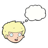 Cartoon happy boy's face with thought bubble royalty free illustration