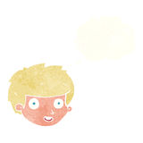Cartoon happy boy's face with thought bubble vector illustration