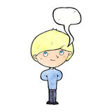 Cartoon happy boy with speech bubble Royalty Free Stock Photography