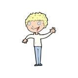 cartoon happy boy waving Stock Photo