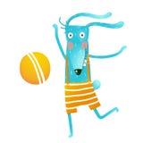 Cartoon happy bunny playing with ball Stock Photo