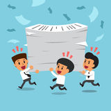 Cartoon happy business team with a lot of work Stock Photo