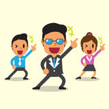Cartoon happy business team with yellow background Royalty Free Stock Images