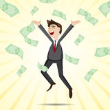 Cartoon happy businessman jumping with money Royalty Free Stock Image