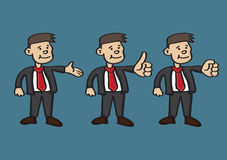 Cartoon Happy Businessman in Suit and Red Tie with Hand Gestures Royalty Free Stock Photo