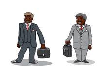 Cartoon happy businessmen with briefcases Stock Photos