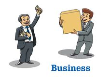 Cartoon happy businessmen characters Stock Images